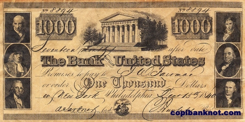 1840 г. The Bank United States. 1000$