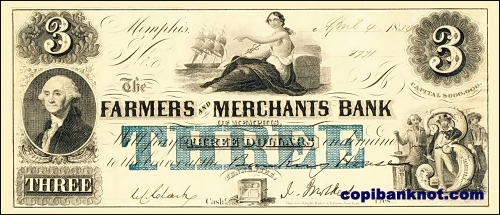 1855 г. Farmers & Merchants Bank. 3$