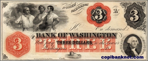 1855 г. Bank of Washington. 3$