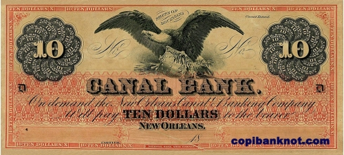 1860 г. Canal bank New Orleans. 10$