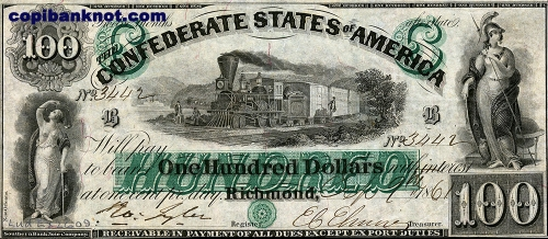 1861 г. Доллары кофедерации. Confederate States of America. Richmond. 100$