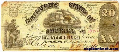 1860 г. Доллары кофедерации. Confederate States of America. 20$