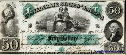 1861 г. Доллары кофедерации. Confederate States of America. Richmond. 50$