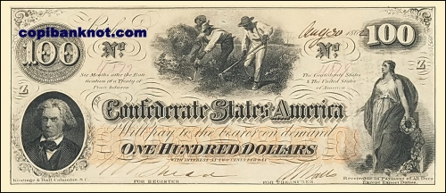 1862 г. Доллары кофедерации. Confederate States of America. Richmond. 100$