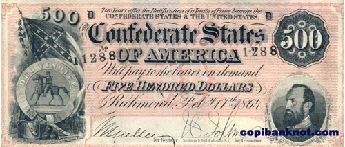 1864 г. Доллары кофедерации. Confederate States of America. Richmond. 500$
