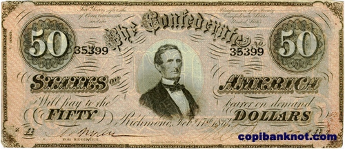 1864 г. Доллары кофедерации. Confederate States of America. 50$