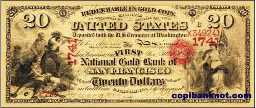 1860 г. First National Gold bank of San Francisco. 20$