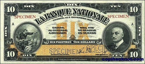 1922 г. La Bankque Nationale. 10$